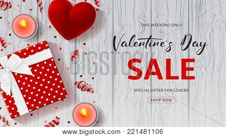 Happy Valentine's Day Sale Promo Web Banner. Top view on composition with gift box, case for ring, candles and confetti on Wooden Texture. Vector illustration with Seasonal Discount Offer.