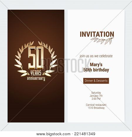 50 years anniversary invitation to celebrate the event vector illustration. Design template element with golden number and text for 50th birthday card, party invite
