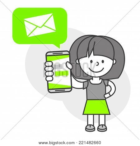 Simple flat stylistics adaptation to corporate style. Icon message girl woman letter shows mobile phone message positive