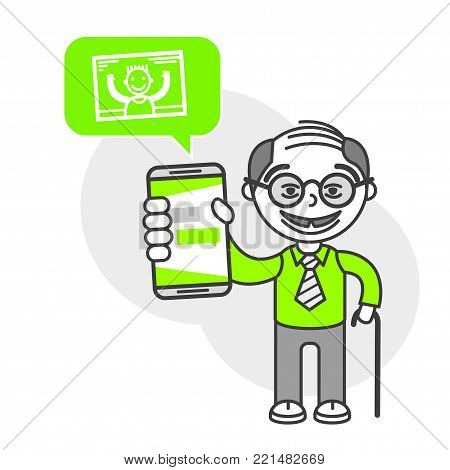 Simple flat stylistics adaptation to corporate style. Icon message grandfather photo friend shows mobile phone message positive