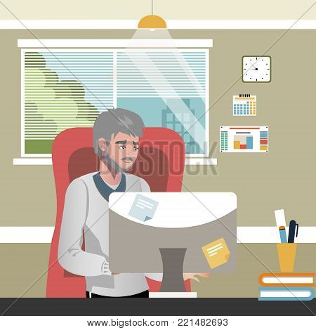 Old man using computer. Vector illustration flat design
