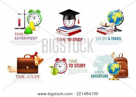 School graduation icons set with time to study symbols cartoon isolated vector illustration
