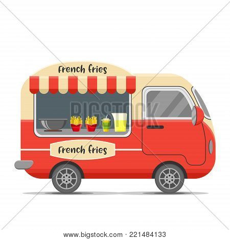 French fries street food caravan trailer. Colorful vector illustration, cute style, isolated on white background