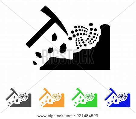 Mining Iota Rocks icon. Vector illustration style is a flat iconic mining iota rocks black symbol with gray, yellow, green, blue color variants. Designed for web and software interfaces.