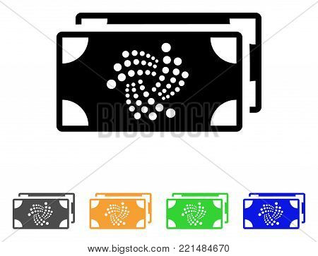 Iota Bank Bills icon. Vector illustration style is a flat iconic iota bank bills black symbol with grey, yellow, green, blue color versions. Designed for web and software interfaces.
