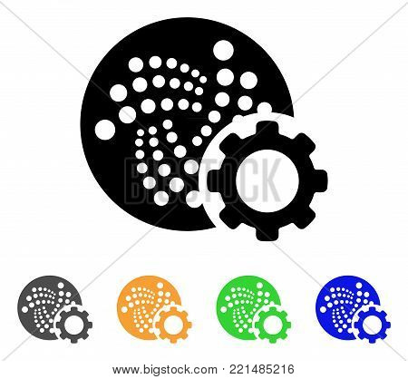 Iota Configure Gear icon. Vector illustration style is a flat iconic iota configure gear black symbol with gray, yellow, green, blue color versions. Designed for web and software interfaces.