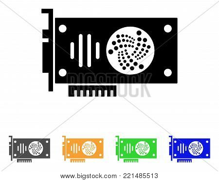 Iota Gpu Card icon. Vector illustration style is a flat iconic iota gpu card black symbol with grey, yellow, green, blue color variants. Designed for web and software interfaces.