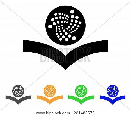 Iota Knowledge icon. Vector illustration style is a flat iconic iota knowledge black symbol with gray, yellow, green, blue color variants. Designed for web and software interfaces.