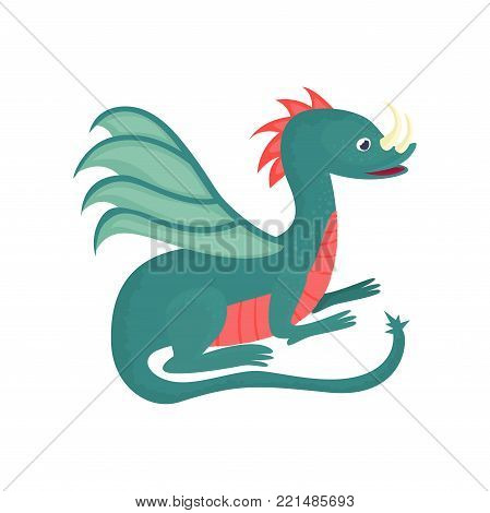 Cute cartoon baby dragon character, mythical animal, fantasy reptile vector Illustration on a white background