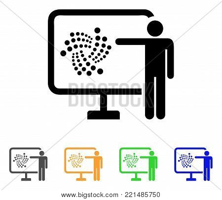 Iota Project Presentation icon. Vector illustration style is a flat iconic iota project presentation black symbol with gray, yellow, green, blue color variants.