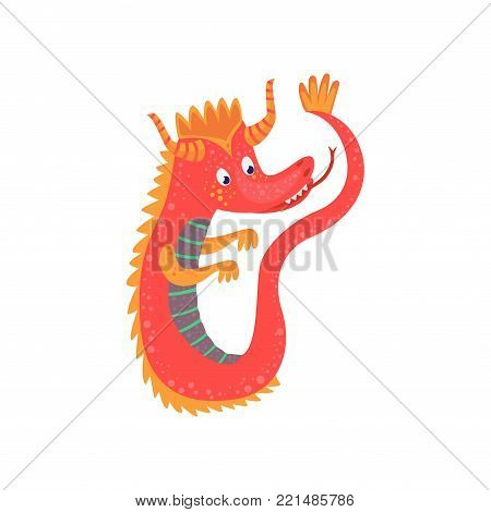Cute red cartoon baby dragon character, mythical animal, fantasy reptile vector Illustration on a white background