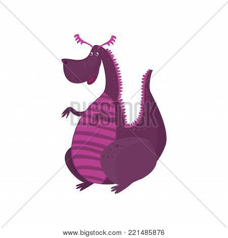 Little purple dragon cartoon character, mythical animal, fantasy reptile vector Illustration on a white background