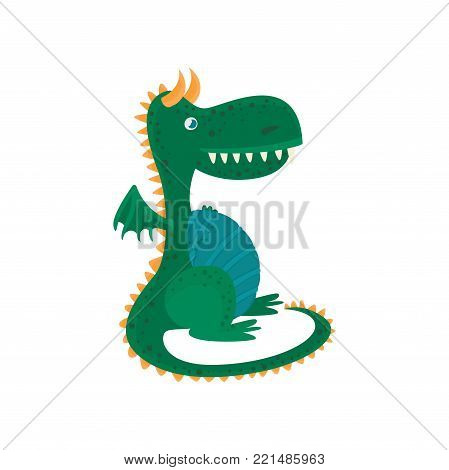 Little green dragon cartoon character, mythical animal, fantasy reptile vector Illustration on a white background