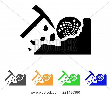 Mining Iota Rocks icon. Vector illustration style is a flat iconic mining iota rocks black symbol with gray, yellow, green, blue color versions. Designed for web and software interfaces.