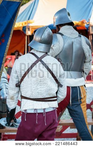 Guards with Metallic Helmets in Medieval Event Fair.