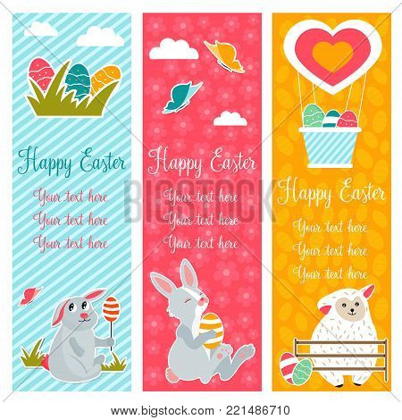 Holiday bright banners with Easter rabbits, sheep and eggs