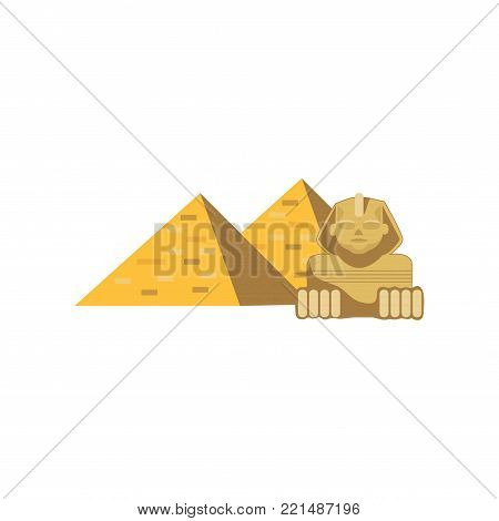 Egypt Great Pyramids and Sphinx statue, signs of traditional Egyptian culture cartoon vector Illustration on a white background
