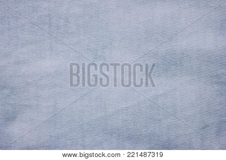 Textured Blue White Cloth Linen Background. Canvas Fabric Material, Dark Navy Blue Pale Seamless Surface Pattern. Simple Casual Clothes Style, Textured Empty Backdrop with Blank Full Frame Copy Space.