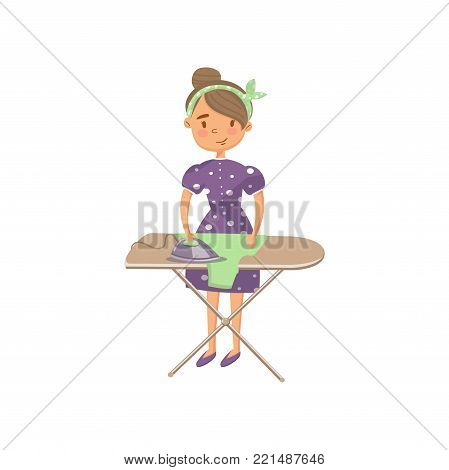 Young woman in casual clothing ironing clothes on an ironing board, housewife in housework activity cartoon vector Illustration on a white background