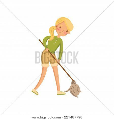 Young woman in casual clothing cleaning the floor with a mop, housewife in housework activity cartoon vector Illustration on a white background
