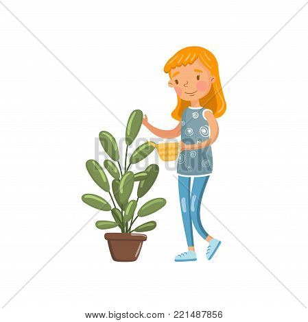 Young woman in casual clothing watering her potted plant with watering can, housewife in housework activity cartoon vector Illustration on a white background