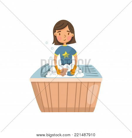 Young brunette woman in casual clothing washing dishes in the kitchen, housewife in housework activity cartoon vector Illustration on a white background