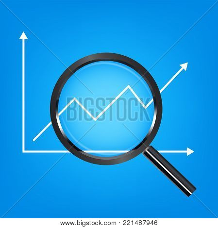 black magnify glass analysis stock graph vector