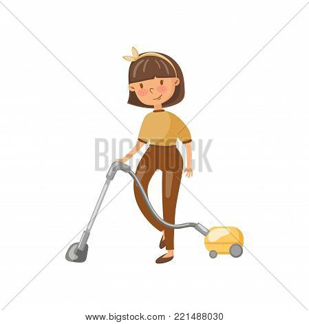 Young woman in casual clothing cleaning the floor with vacuum cleaner, housewife in housework activity cartoon vector Illustration on a white background