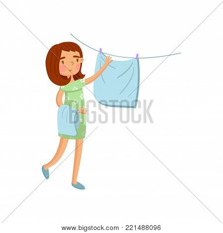 Young woman in casual clothing hanging wet clothes out to dry, housewife in housework activity cartoon vector Illustration on a white background