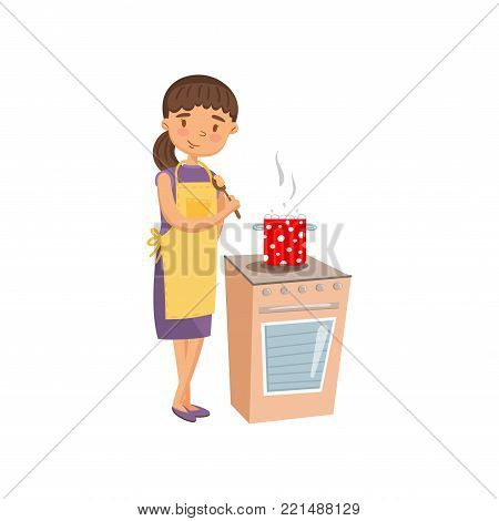 Young woman in casual clothing and apron cooking in the kitchen, housewife in housework activity cartoon vector Illustration on a white background