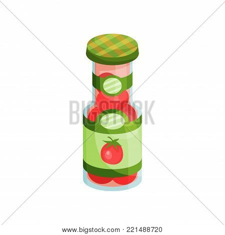 Glass jar with pickled tomatoes, canned vegetables cartoon vector Illustration on a white background
