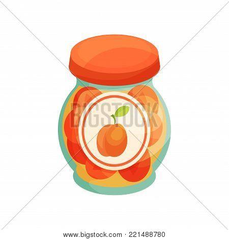 Peach jam in glass jar with lid, homemade fruit jam jar cartoon vector Illustration on a white background
