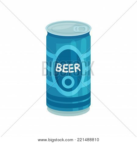 Blue aluminum tin can of beer cartoon vector Illustration on a white background