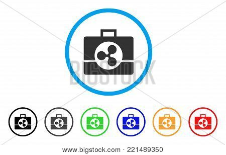 Ripple Business Case rounded icon. Style is a flat gray symbol inside light blue circle with bonus colored variants. Ripple Business Case vector designed for web and software interfaces.