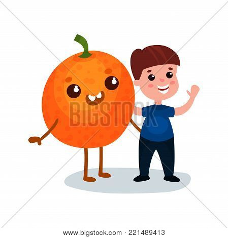 Cute little boy having fun with smiling giant orange fruit character, best friends, healthy food for kids cartoon vector Illustration on a white background