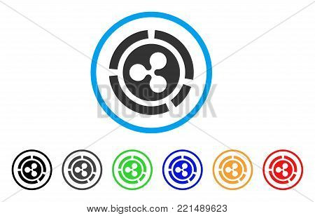 Ripple Diagram rounded icon. Style is a flat grey symbol inside light blue circle with additional colored versions. Ripple Diagram vector designed for web and software interfaces.