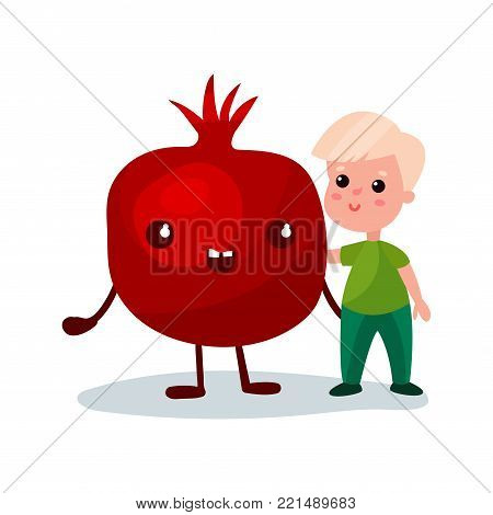 Sweet little boy hugging giant pomegranate fruit character, best friends, healthy food for kids cartoon vector Illustration on a white background