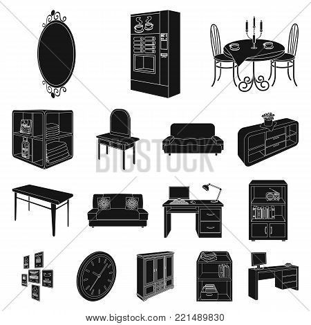 Furniture and interior black icons in set collection for design. Home furnishings vector isometric symbol stock  illustration.