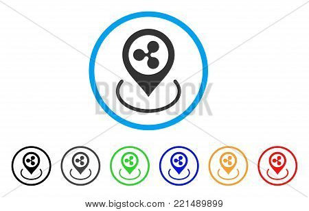 Ripple Location rounded icon. Style is a flat grey symbol inside light blue circle with bonus color versions. Ripple Location vector designed for web and software interfaces.