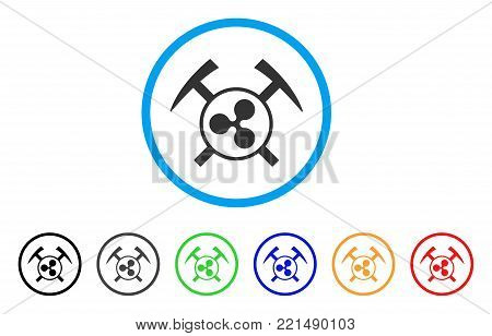 Ripple Mining Hammers rounded icon. Style is a flat gray symbol inside light blue circle with additional color versions. Ripple Mining Hammers vector designed for web and software interfaces.