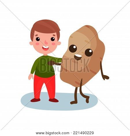 Happy little boy hugging giant potato vegetable character, best friends, healthy food for kids cartoon vector Illustration on a white background