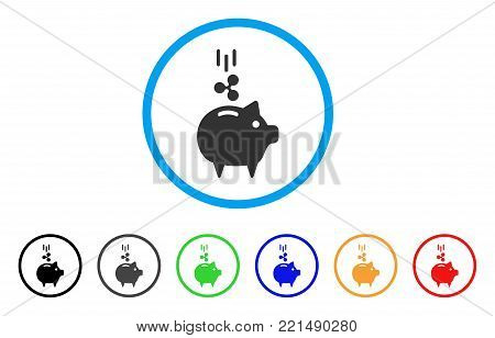 Ripple Piggy Bank rounded icon. Style is a flat gray symbol inside light blue circle with bonus colored versions. Ripple Piggy Bank vector designed for web and software interfaces.