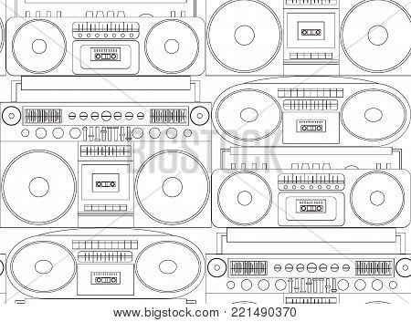 Seamless black and white texture with contour tape recorders and boom boxes. Vector pattern for fabrics, wallpaper and your creativity