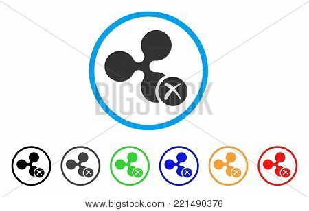 Ripple Reject rounded icon. Style is a flat gray symbol inside light blue circle with bonus colored variants. Ripple Reject vector designed for web and software interfaces.