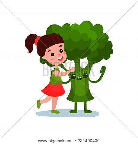 Lovely little girl hugging giant broccoli vegetable character, best friends, healthy food for kids cartoon vector Illustration on a white background