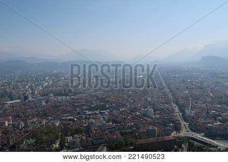 Cityscape of Grenoble, France. Photography taken from La Bastille viewpoint