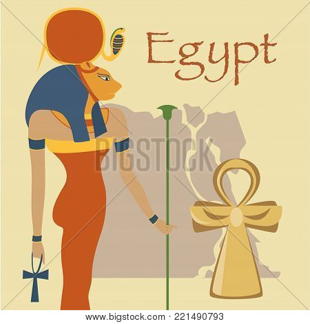 Egypt, Hathor Goddess and Ankh cross, symbols of traditional Egyptian culture vector illustration, colorful design element for poster or banner.