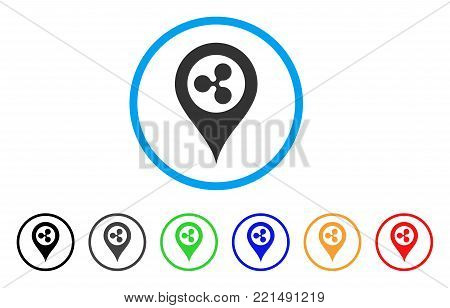 Ripple Map Marker rounded icon. Style is a flat grey symbol inside light blue circle with bonus colored versions. Ripple Map Marker vector designed for web and software interfaces.