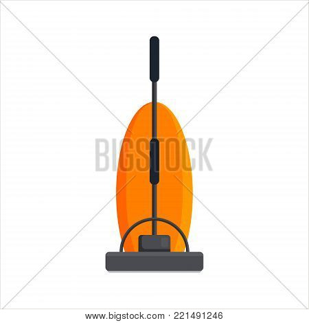 Flat vacuum cleaner icon logo isolated on white background. Electrical hoover for house cleaning. Household equipment - vector illustration.