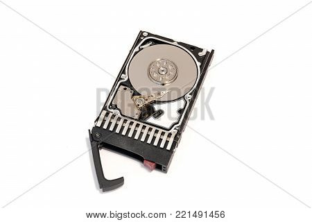 Close up inside of hot plug SAS computer disk drive HDD in tray isolated on white background